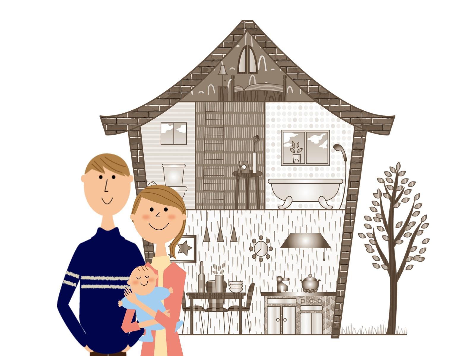 家と若い家族のイラスト