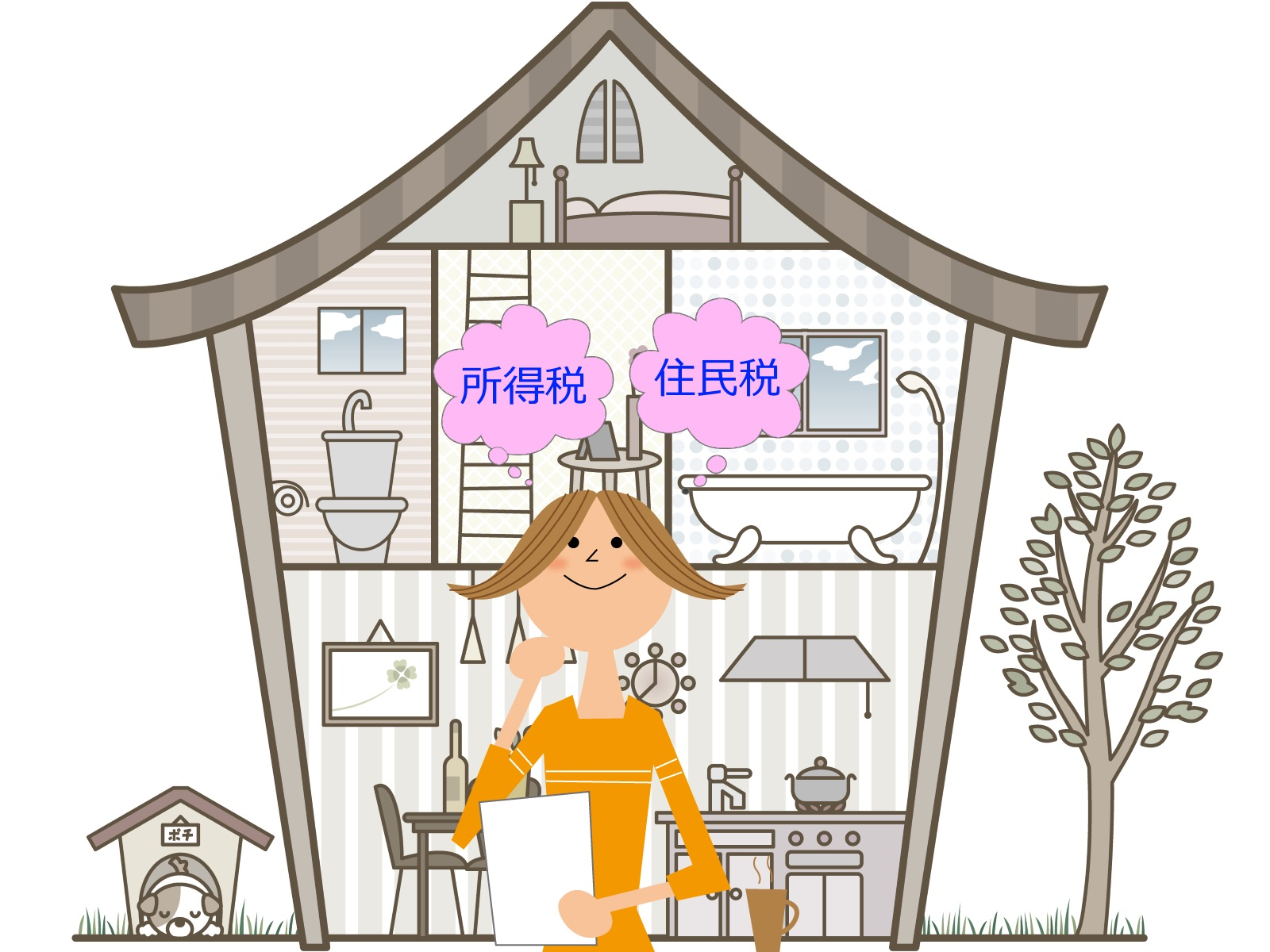 住宅の前で住民税と所得税を考えている女性のイラスト