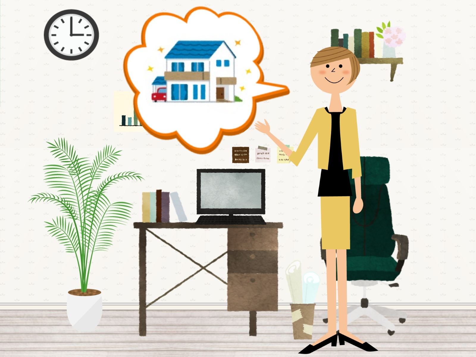 住宅を提案している女性のイラスト