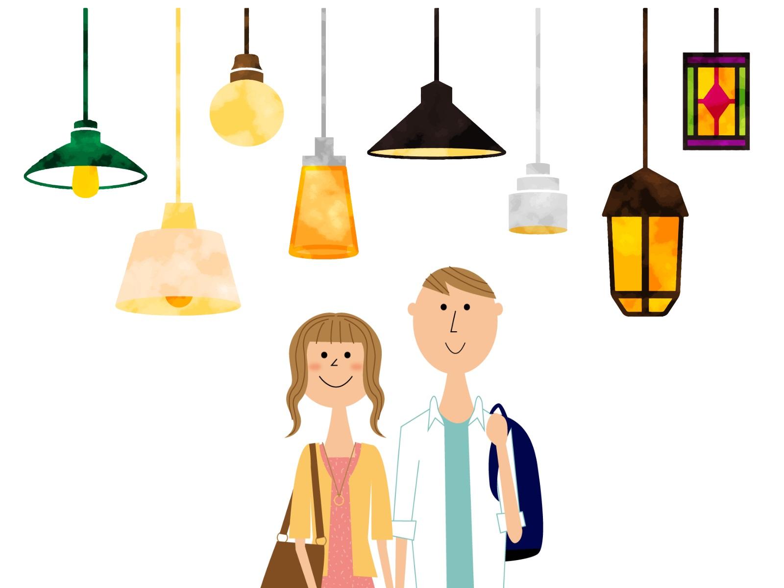 たくさんの照明と若い夫婦のイラスト