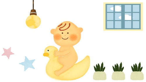 おまるに乗る赤ちゃんのイラスト