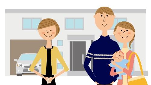 家を案内する女性と若い家族のイラスト