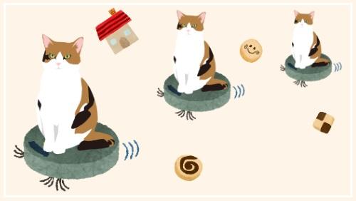 お掃除ロボットに乗っている猫のイラスト