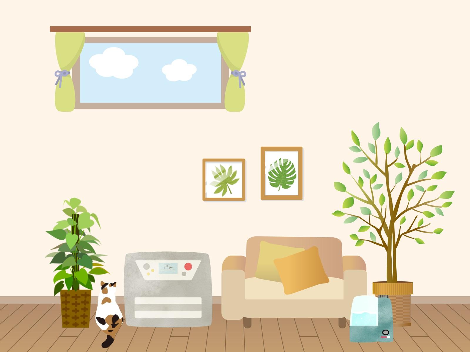 冬の暖かい部屋のイラスト