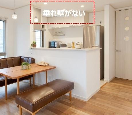 垂れ壁がないデザインの対面キッチン