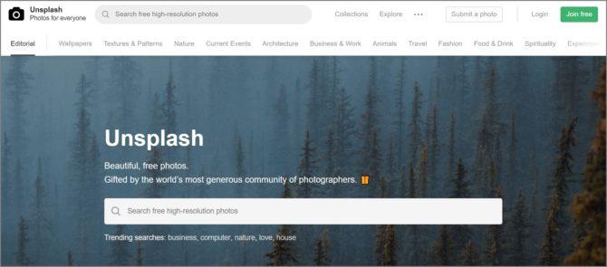 Unsplash トップページイメージ画