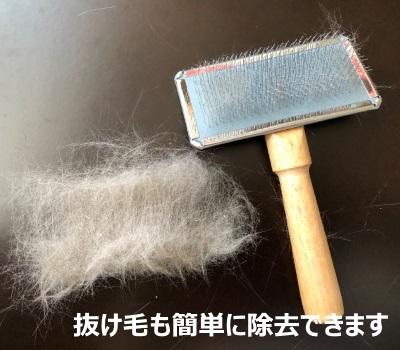 スリッカーブラシと猫の抜け毛の写真