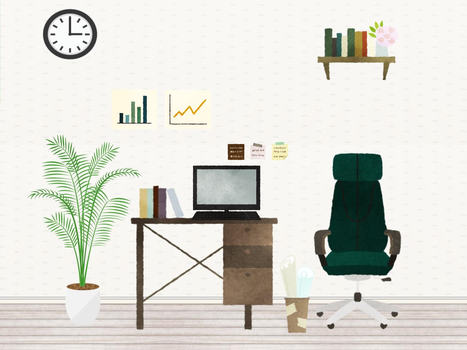机の上にパソコンがある部屋のイラスト