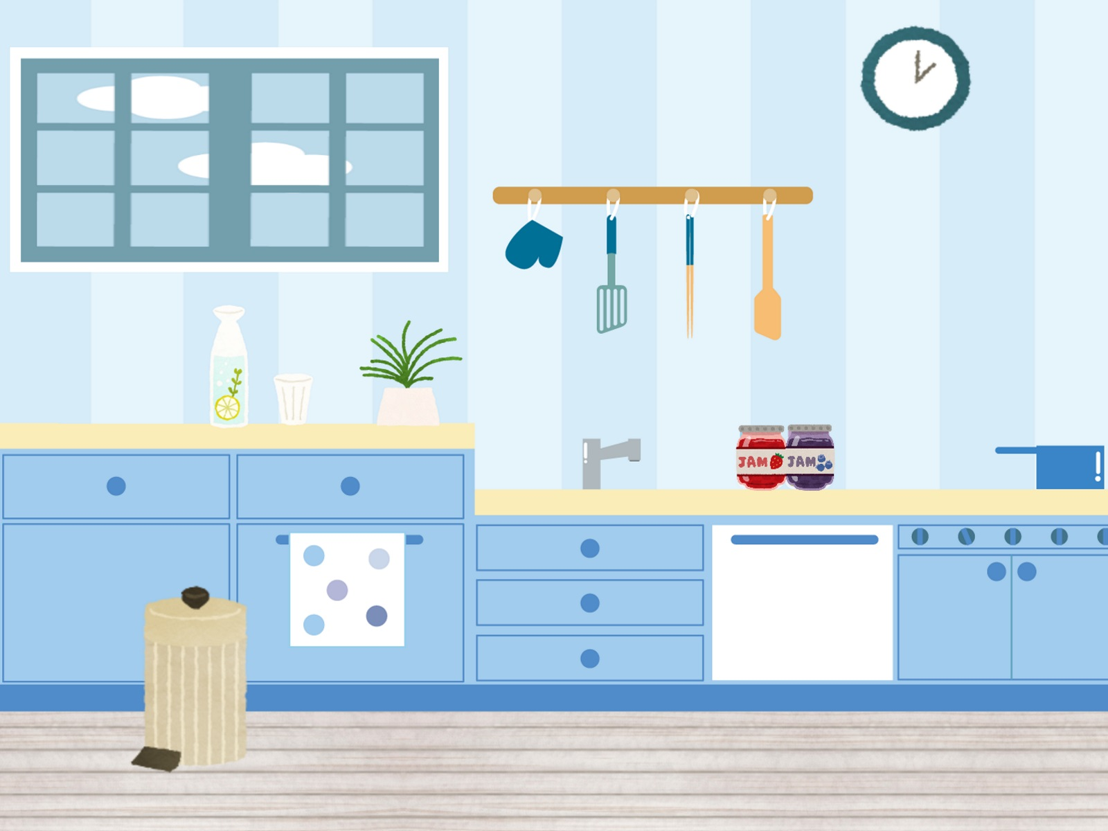 爽やかなブルーのキッチンのイラスト
