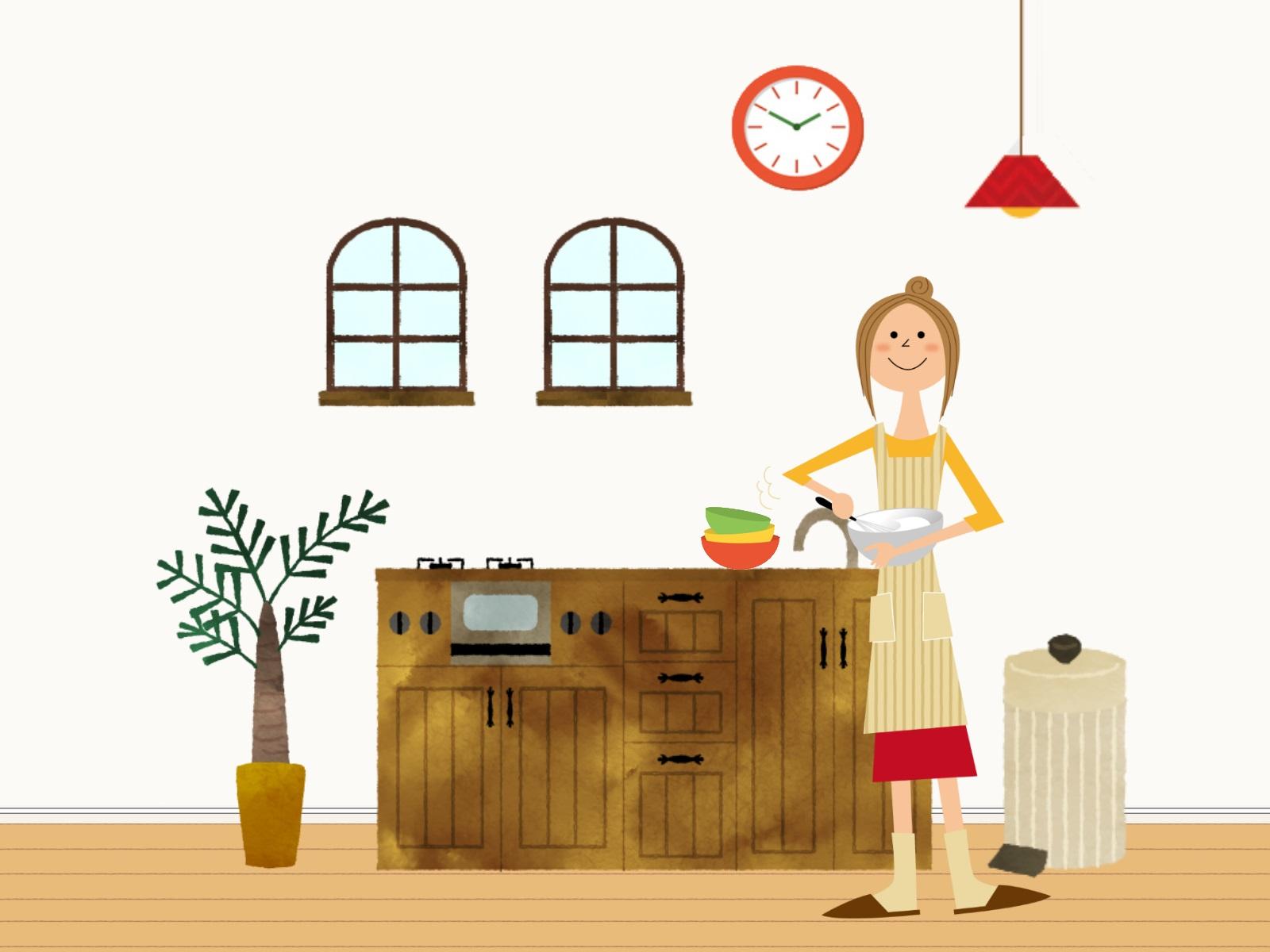 キッチンで料理をしている女性のイラスト