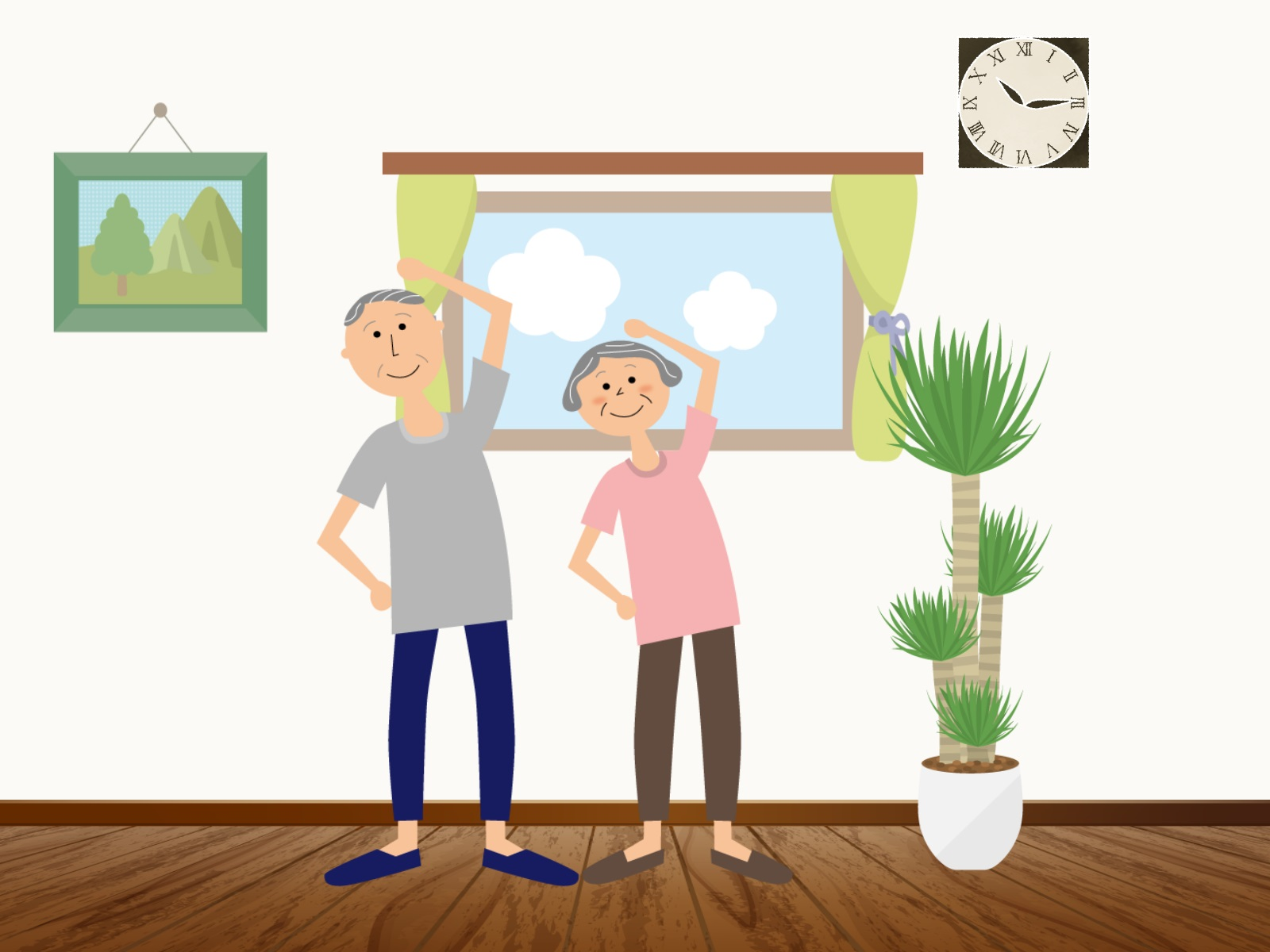 リビングで体操をしている老夫婦のイラスト