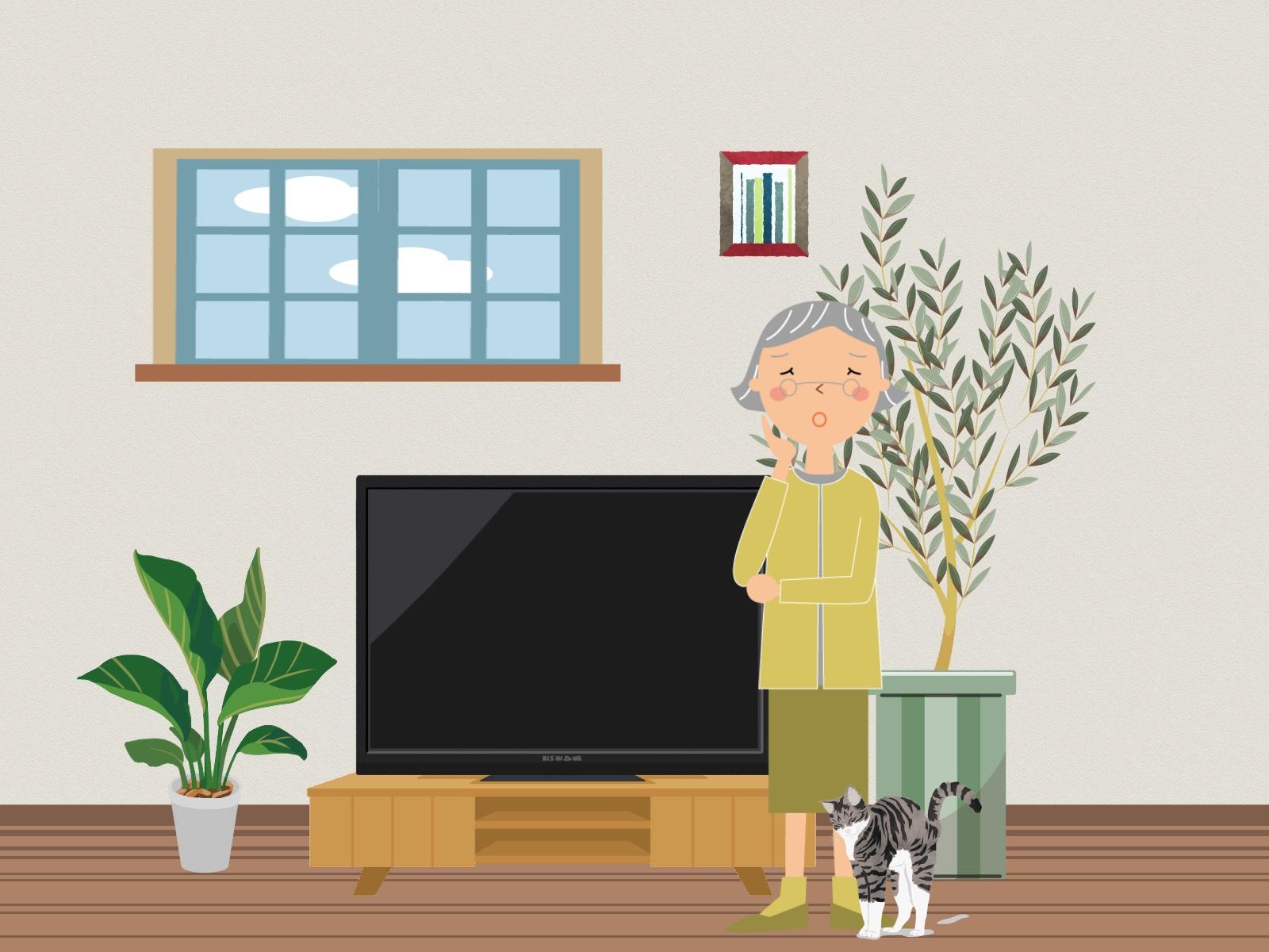 テレビの横で悩んでいる婦人のイラスト