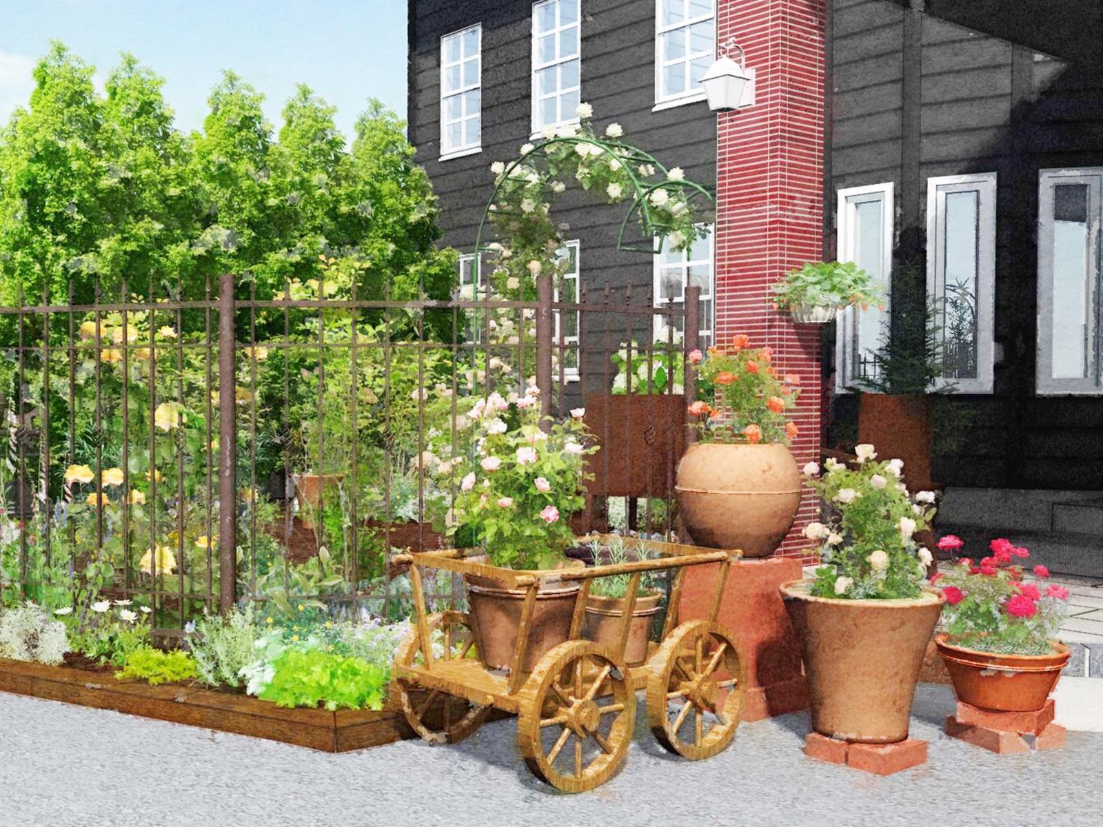 手入れされた庭のイラスト
