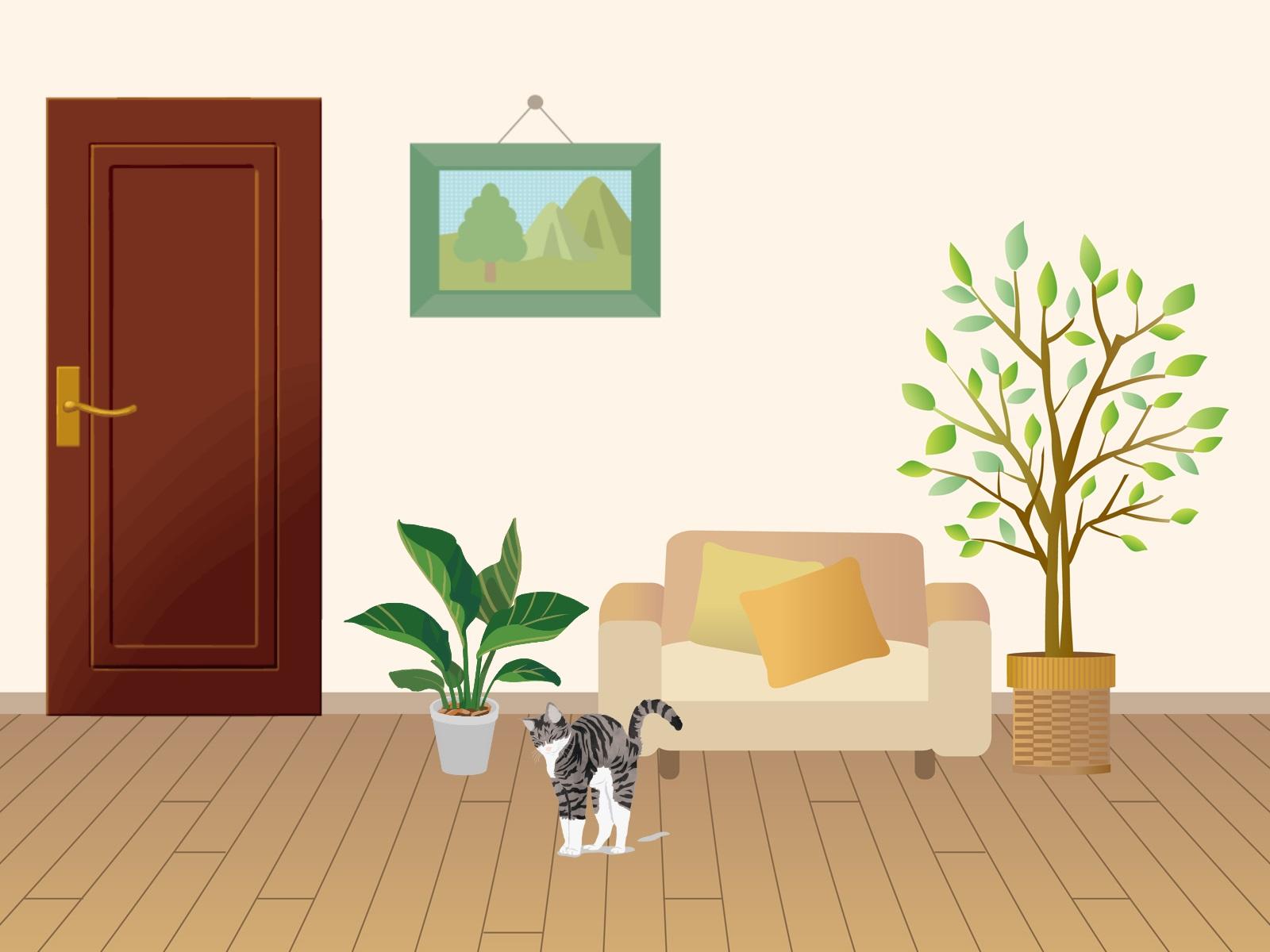 リビングで伸びをしている猫のイラスト