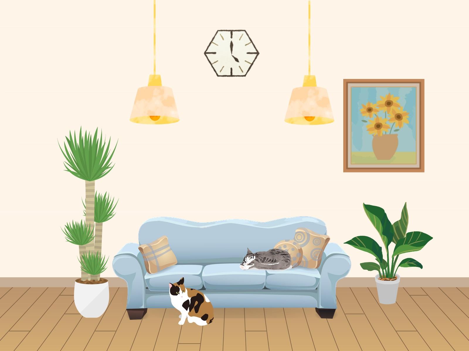 ソファーで二匹の猫がくつろいでいるイラスト