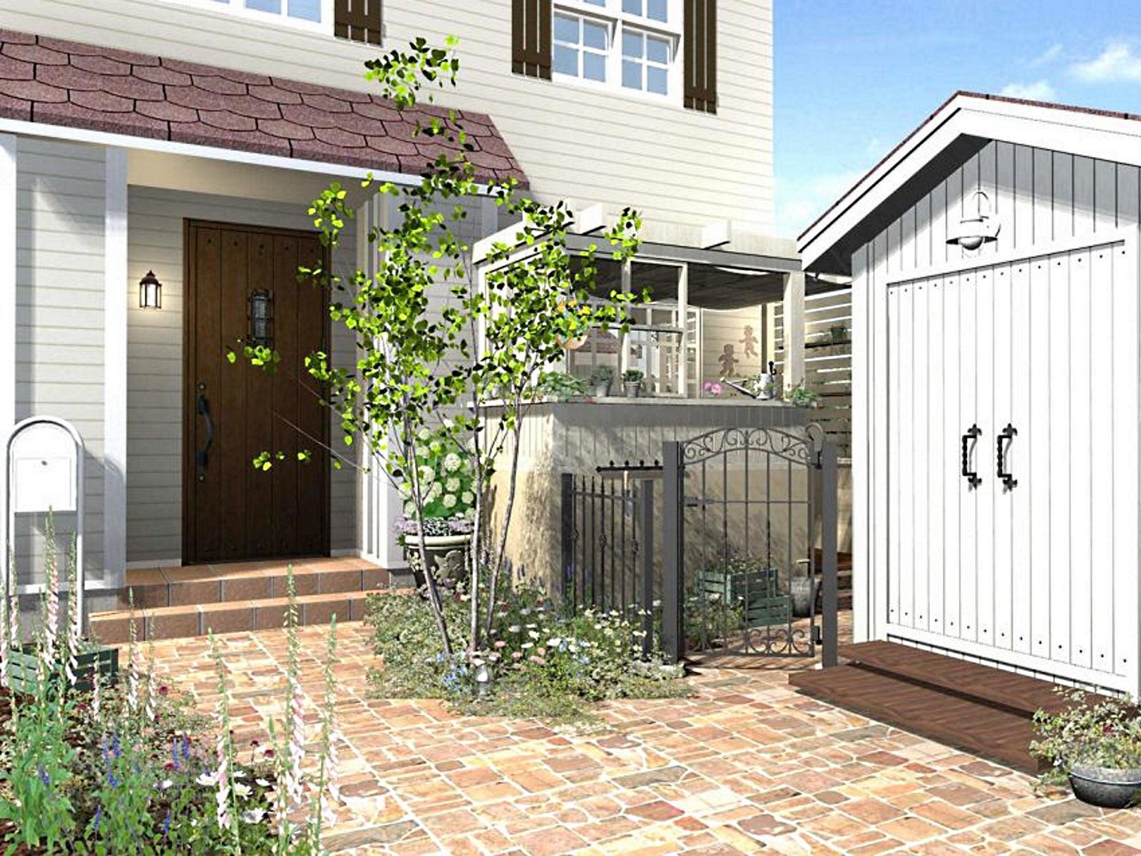 レンガの玄関アプローチがある家のイラスト