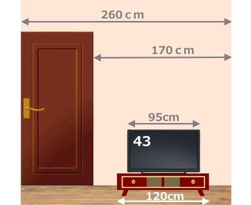 43型のテレビを置いたイメージのイラスト
