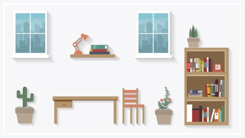 勉強部屋のイラスト