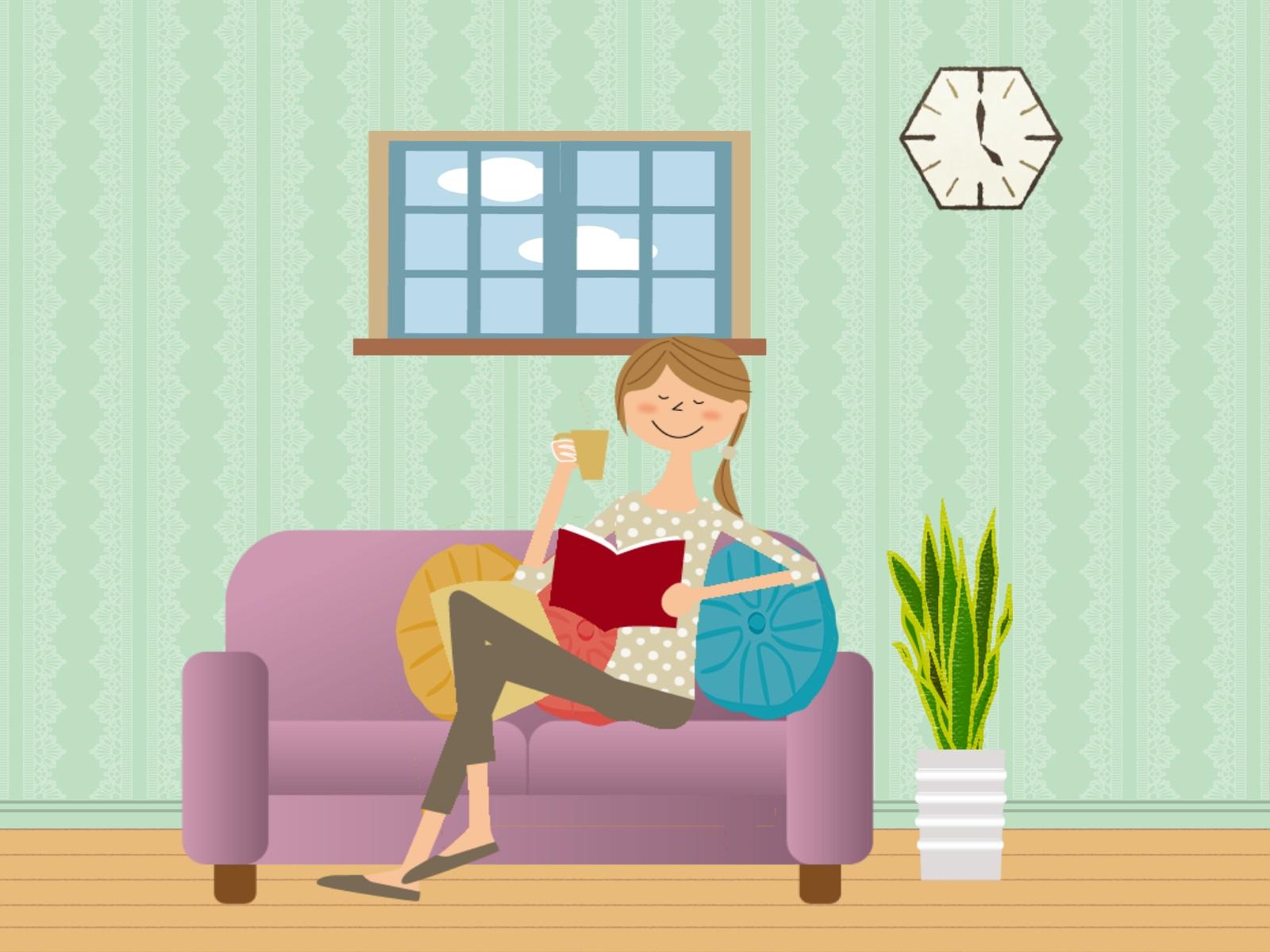 紫色のソファーでくつろいでいる女性のイラスト