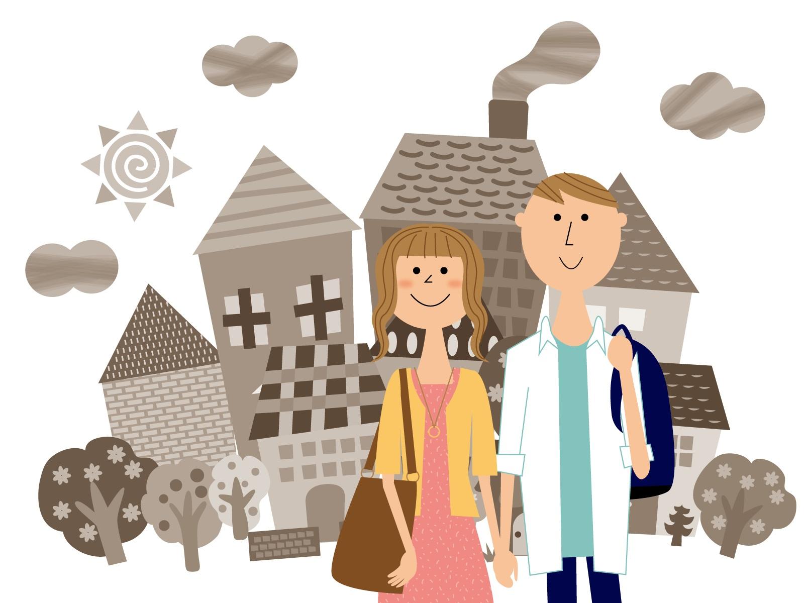 街を歩く若い夫婦のイラスト
