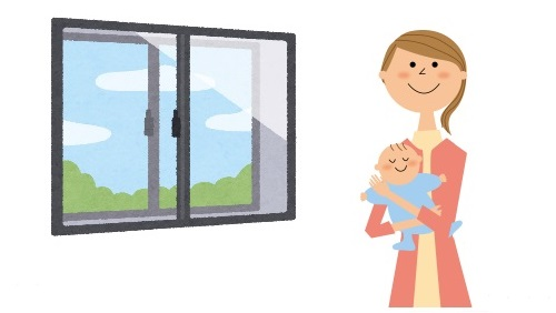 窓辺で赤ちゃんを抱いている女性のイラスト